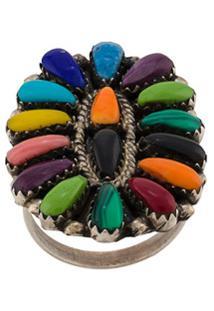 Jessie Western Anel Oval Com Pedras Em Gota Encrustadas - Cinza