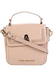 Bolsa Couro Jorge Bischoff Handbag Estruturada Croco Verniz Feminina - Feminino-Rosa Claro