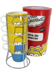 Torre De Canecas Familia Simpsons Amarelo E Vermelho Zona Criativa