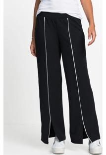 Calça Pantalona Com Listra Frontal Preta