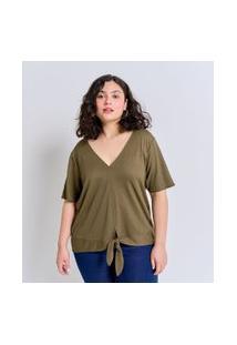 Blusa Gola V Em Viscose Com Amarração Curve & Plus Size | Ashua Curve E Plus Size | Verde | Eg