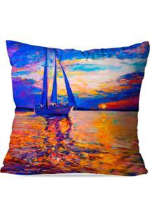 Capa De Almofada Avulsa Decorativa Pintura Barco E Por Do Sol 35X35Cm