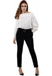 Calça Skinny Com Cinto De Fivela E Bolsos Laterais Feminina - Feminino