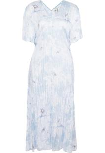 Vince Vestido Midi Com Esfeito Amassado - Azul