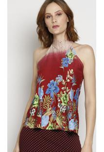 Blusa Floral Com Amarração - Vermelha & Begemaria Padilha