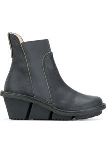 Trippen Ankle Boot Plataforma De Couro - Azul