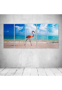 Quadro Decorativo - New Caribbean Flamingos - Composto De 5 Quadros - Multicolorido - Dafiti