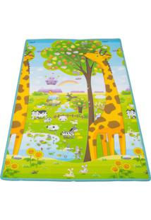 Tapete Girafa & Abc - Verde & Amarelo- 180X120Cm