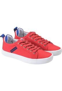 Tenis Lona Cano Baio Skate Logo Caixa - Vermelho - 35