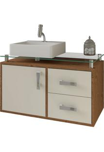 Balcão Para Banheiro Suspenso Com 2 Gavetas E Cuba Evora-Mgm - Amendoa / Off White