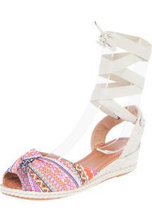 Sandália Dafiti Shoes Anabela Étnica Branca