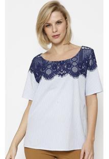 Blusa Listrada Com Renda - Azul & Brancasimple Life