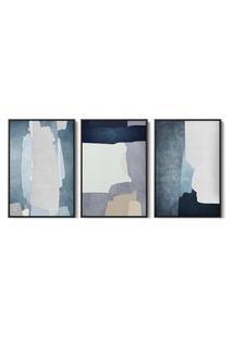 Quadro 40X90Cm Abstrato Hundura Moldura Flutuante Filete Preta Decorativo