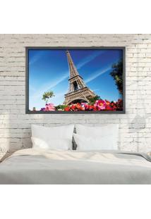 Quadro Love Decor Com Moldura Paris Fleurs Grafitti Metalizado Grande