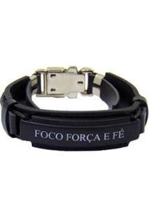 Bracelete Foco Couro Via Luna Masculino - Masculino-Preto