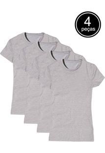 Camiseta Básica Part.B Baby Look Gola Redonda Kit 4 Peças Cinza
