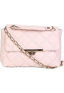 Bolsa Couro Jorge Bischoff Mini Bag Matelassê Feminina - Feminino-Rosa Claro