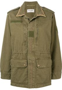 Saint Laurent Parka Com Acabamento Bordado - Green