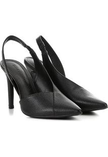 Scarpin Couro Loucos&Santos Chanel Bico Fino Recortes - Feminino-Preto