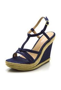 Sandália Anabela Salto Alto Em Tecido Jeans Azul