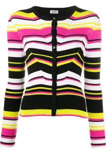 Liu Jo Fitted Striped Knitted Cardigan - Preto