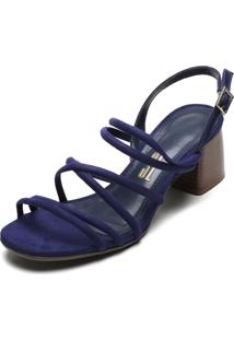 Sandália Santa Lolla Tiras Finas Azul-Marinho