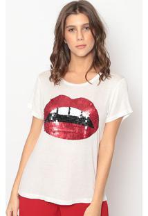 Blusa Com Paetãªs- Off White & Vermelha- Cavalaricavalari