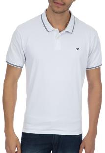 Camisa Polo Colombo Branca Com Detalhe