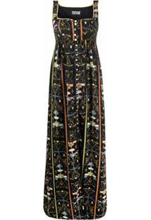 Versace Jeans Couture Vestido Longo Com Estampa Gráfica - Preto