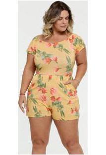 Macaquinho Feminino Estampa Floral Plus Size Manga Curta