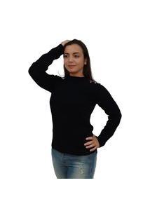 Blusa Buclê Mousse Tomasini Tricot Outono/Inverno 2020 Preto