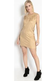 Vestido Com Franjas- Bege- Bhlbhl