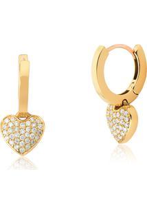 Brinco De Ouro 18K Argola Click Lisa Coração Pavê Com Diamantes-Coleção My Heart
