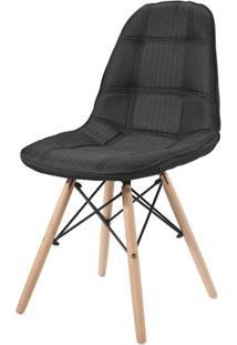 Cadeira Eames Estofada Linho Preta Base Madeira - 42947 - Sun House