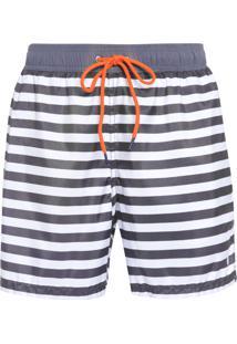 Short Masculino Praia Listrado - Preto E Branco