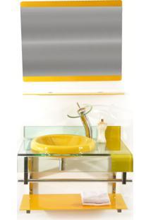 Gabinete De Vidro 70Cm Para Banheiro Turquia Amarelo Ekasa