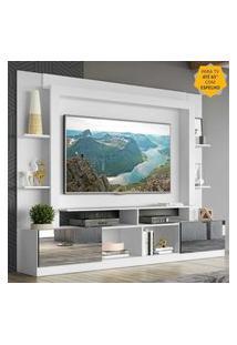 """Rack C/ Painel Tv 65"""" Portas C/ Espelho Oslo Multimóveis Branco/Preto"""