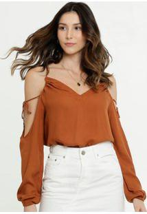 Blusa Feminina Open Shoulder Manga Longa Disparate