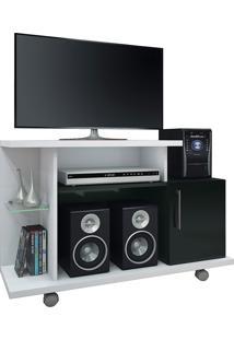 """Rack Para Tv De 26""""Com 1 Porta Smart-Hb Móveis - Branco / Preto"""