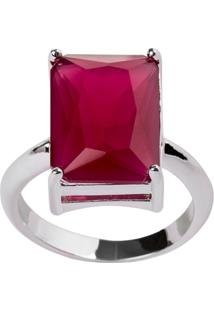 Anel Retangular The Ring Boutique Pedra Cristal Vermelho Rubi Ródio Ouro Branco