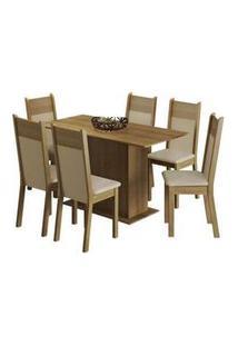 Conjunto Sala De Jantar Madesa Catarina Mesa Tampo De Madeira Com 6 Cadeiras Rustic/Crema/Pérola Rustic