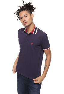 Camisa Polo Cavalera Regular Fit Frisos Azul-Marinho