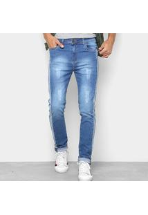Calça Jeans Copen Recorte Lateral Skiny Masculina - Masculino-Jeans