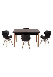 Conjunto Mesa De Jantar Luiza 135Cm Preta Com 4 Cadeiras Slim - Preto