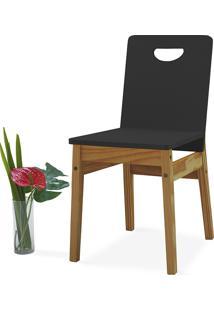 Cadeira De Madeira Tucupi 40X51X81Cm - Acabamento Stain Nozes E Laca Preto