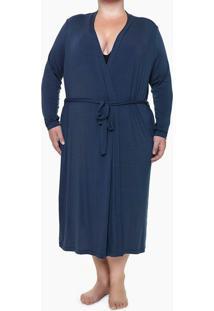 Robe Ml Viscolight Plus Size - Azul Marinho - 1Xl