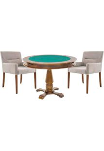 Mesa De Jogos Carteado Victoria Redonda Tampo Reversível Amêndoa Com 2 Cadeiras Vicenza Nude - Gran Belo