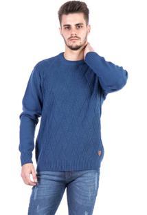 Blusa Tricot Malhas Carlan Locked Masculina - Masculino-Azul