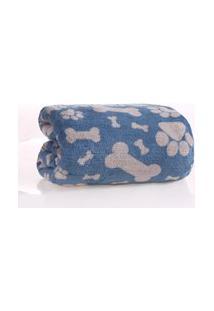 Manta Cobertor Pet 1,20M X 1,50M Microfibra Plush Azul - Meu Pet