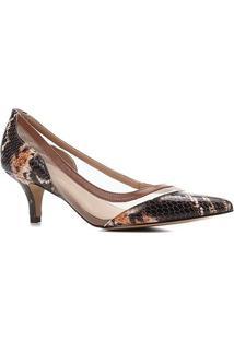 Scarpin Couro Shoestock Salto Baixo Bico Fino Cobra Telado - Feminino-Caramelo